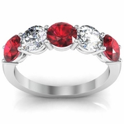 2.00 cttw Ruby and SI Diamond 5 Stone Ring