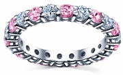 2.00cttw Diamond Pink Sapphires Eternity Band