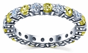 2 Carat Diamonds and Yellow Sapphire Eternity Ring