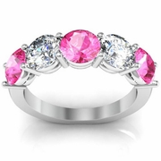 3.00 cttw Pink Sapphire and VS Diamond 5 Stone Ring