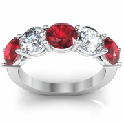 3.00 cttw Ruby and SI Diamond 5 Stone Ring