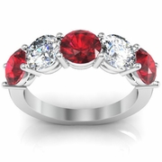 3.00 cttw Ruby and VS Diamond 5 Stone Ring