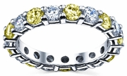 3.00cttw Diamonds Yellow Sapphire Eternity Wedding Band
