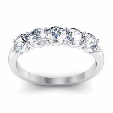 0.80 ctw Forever One Moissanite Round Five Stone Ring - click to enlarge