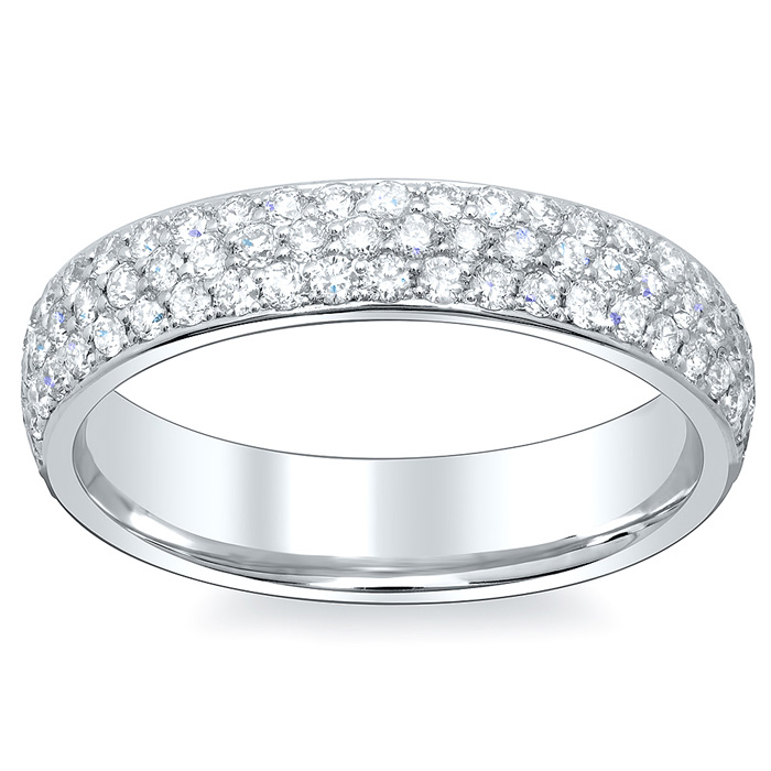 3 Row Pave Diamond Eternity Wedding Bands 45mm