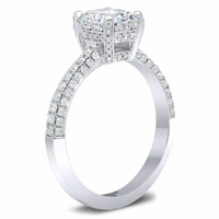 3 Sided Pave Engagement Ring with Pave Basket