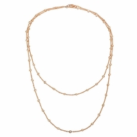 "36"" Handmade Rose Gold Diamond Rolo Necklace"