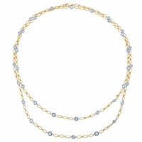 """36"""" Yellow and White Gold Handmade Diamond Necklace"""