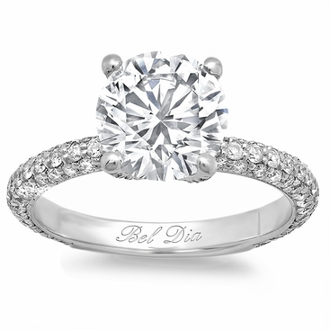 3mm 3 Row Pave Engagement Ring - click to enlarge