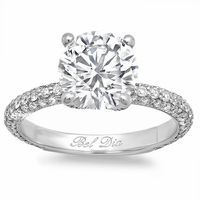 3mm 3 Row Pave Engagement Ring