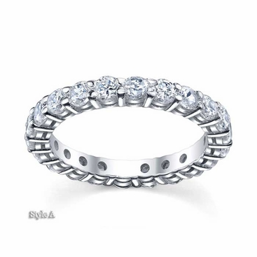 3mm Moissanite Forever One Round Eternity Ring - click to enlarge