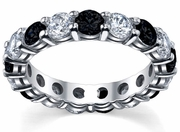4.00cttw Diamonds and Black Diamonds Eternity Ring