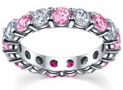 4.00cttw Pink Sapphires and Diamonds Eternity Band