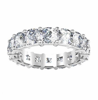 7.50 ctw Forever One Moissanite Cushion Shared Prong Eternity Ring