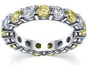 4 Carat Yellow Sapphire and Diamond Eternity Wedding Band