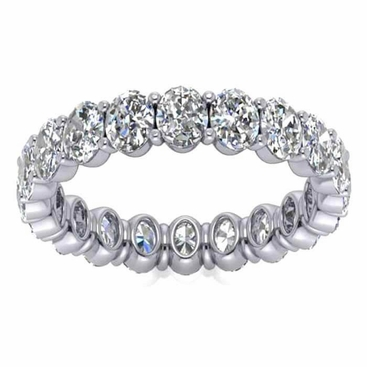 4mm Oval Forever One Moissanite Eternity Ring - click to enlarge