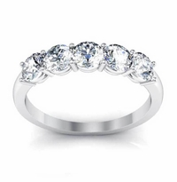1.15 ctw Round Moissanite Forever One Moissanite Stacking Five Stone Band