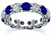 5.00cttw Diamond and Blue Sapphire Eternity Ring