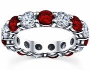 Five Carat Diamond and Ruby Eternity Ring