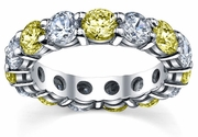 5.00cttw Yellow Sapphire Diamond Eternity Wedding Band