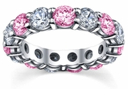 5 Carat Pink Sapphires Diamond Eternity Wedding Band