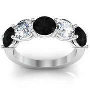 5 Stone Ring with Black Diamond and White Diamond Birth Stones