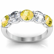 5 Stone Band with Diamond and Yellow Sapphire Gemstones