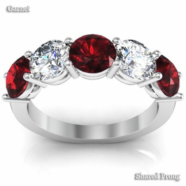 5 Stone Band with Garnet and Diamond Birth Stones - click to enlarge