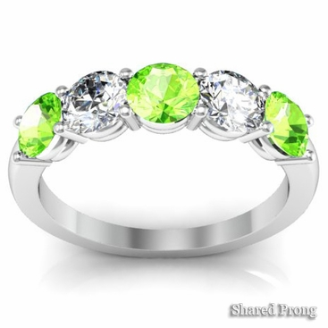 5 Stone Band with Peridot and Diamond Gemstones - click to enlarge
