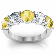 5 Stone Band with Yellow Sapphire and Diamond Birth Stones