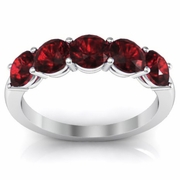 5 Stone Garnet January Birth Stone Band