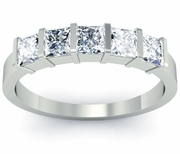 5 Princess Diamonds Bar Set Ring