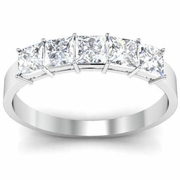 5 Stone Ring Princess Cut Diamonds