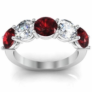 5 Stone Ring with Garnet and Diamond Birth Stones