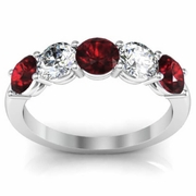 5 Stone Ring with Garnet and Diamond Gemstones