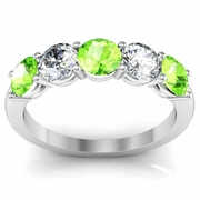 5 Stone Ring with Peridot and Diamond Gemstones