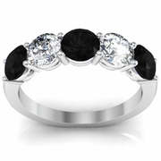 5 Stone Ring with White Diamond and Black Diamond Gem Stones