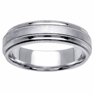 6.5mm Mens or Ladies Milgrained Wedding Ring
