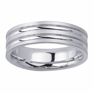 6.5mm Mens Wedding Ring with Grooves