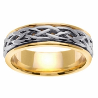 6.5mm Two Tone Celtic Ring for Men or Women