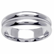 6.5mm Unique Wedding Band in White or Yellow Gold