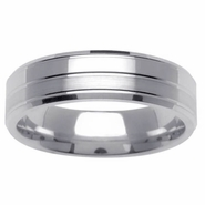 6mm Beveled Mens Wedding Ring with Grooves