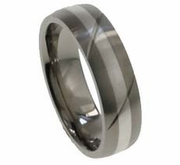 6mm Domed Titanium and Silver Wedding Band