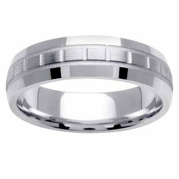 6mm Domed Wedding Band with Unique Design - click to enlarge