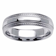 6mm Fancy Rope Design Wedding Ring for Men or Women