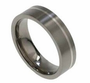 6mm Flat Titanium and Silver Wedding Band for Men or Women