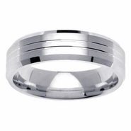 6mm Grooved Mens Wedding Ring with Beveled Edges