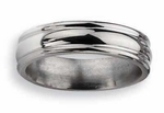 6mm Grooved Titanium Wedding Ring High Polish Finish