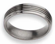 6mm Grooved Titanium Wedding Ring Polished Finish