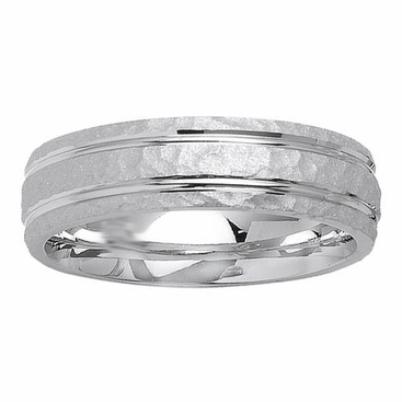 6mm Hammered Finish Mens Ring - click to enlarge